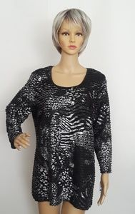 M Collection Party Animal Print Pullover Top XL